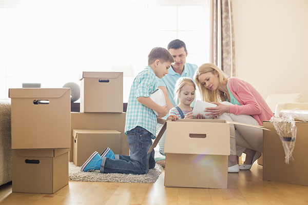 Family getting ready to relocate to a new home
